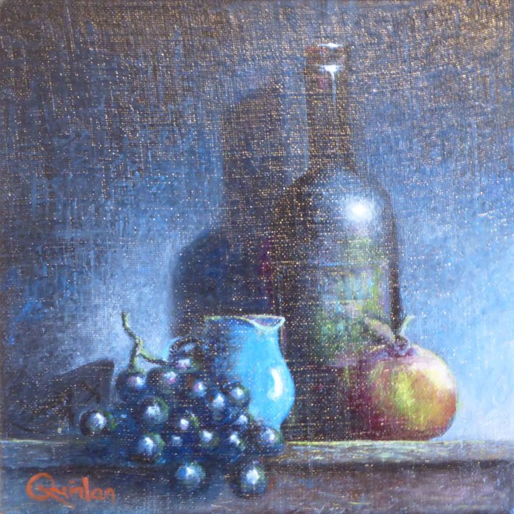 """Original oil painting - 8"""" x 8""""  Aged Bottle, Jug and Fruit, An oil painting by Irish still life artist Chris Quinlan. An oil painting on linen panel of an aged bottle with some fruit and a jug."""