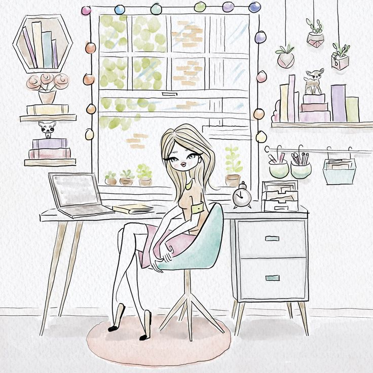 Creative workspace for women. illustration: Paula Romani