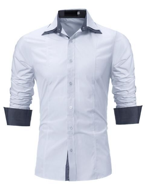 ef7110bd5cc Male Shirt Long-Sleeves Tops Slim Casual Solid Color Slim Men Shirts ...