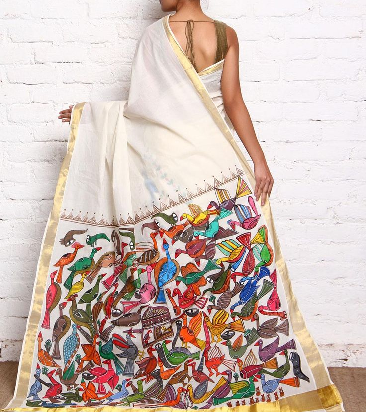 Off White Hand Painted Kerela Cotton Saree