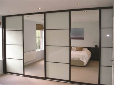Swan Systems Sliding Wardrobe Doors Chocolate Wenge Oriental Design with White Glass and Silver Mirror