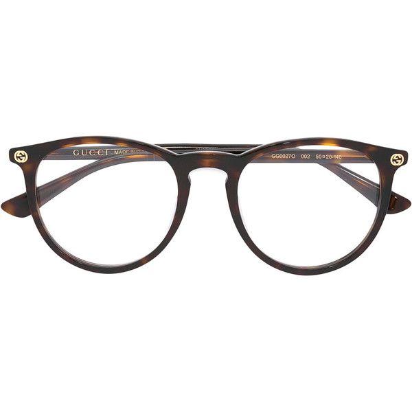 Gucci Eyewear tortoiseshell glasses (£170) ❤ liked on Polyvore featuring accessories, eyewear, eyeglasses, brown, brown glasses, gucci eyewear, tortoiseshell glasses, tortoise eyeglasses and tortoise shell glasses