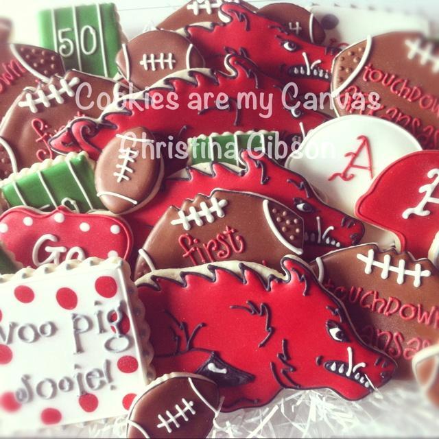 Arkansas Razorback football cookies!  Go Hogs!
