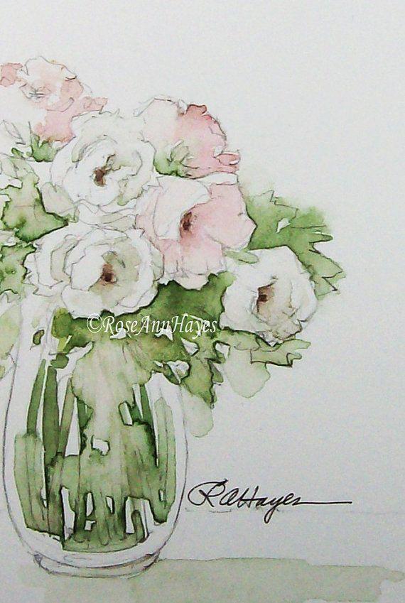 Il sagit dune peinture aquarelle originale dun bouquet de roses blanches et roses. Les couleurs sont douces roses pastels et verts et blancs, et il irait très bien avec un thème shabby chic, ou un thème jardin du pays. La peinture a été peinte par moi sur papier aquarelle de qualité darchives à laide de peinture aquarelle de qualité artistes. La taille de la peinture est de 2,5 x 3,5 pouces et il est offert dans un tout nouveau tapis de coupe en biseau blanc mesurant 5 x 7. Il sautera…