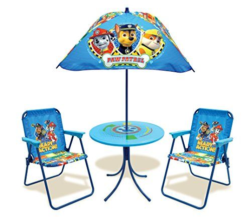 The Kids Only! Paw Patrol Classic Patio Set is the perfect addition to your patio deck or backyard. The set includes a table w/umbrella and 2 folding patio chairs all featuring your child's favorite ...