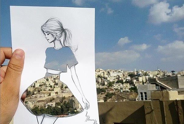 Le designer Shamekh Bluwi réalise sur de simples feuilles de papier des illustrations de femmes habillées d'une multitude de robes différentes. Jusqu'ici, rien d'incroyable, mais le détail qui vient sublimer chacun de ces croquis se trouve dans le tissu, les motifs de chaque robe.  En effet, Shamekh Bluwi découpe la surface des robes et utilise les paysages et l'architecture qui l'entourent pour créer un tissu unique.