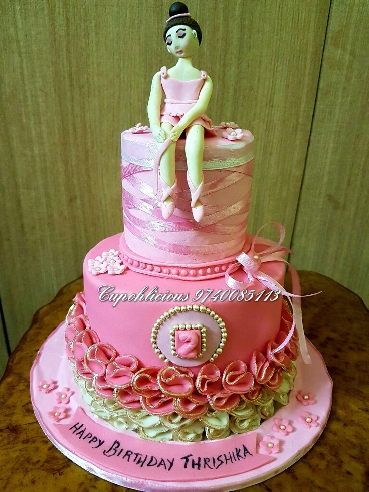 Strawberry flavoured ballerina themed cake !