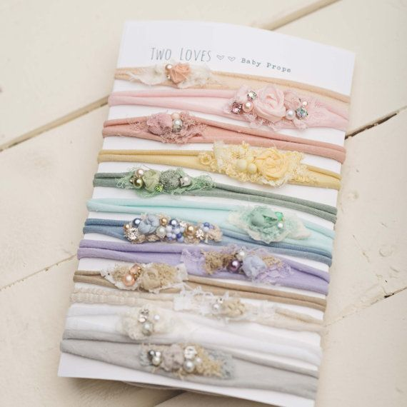 The ultimate tieback set 12 tiebacks pastel neutral baby tieback newborn headbands photography prop organic flower crown