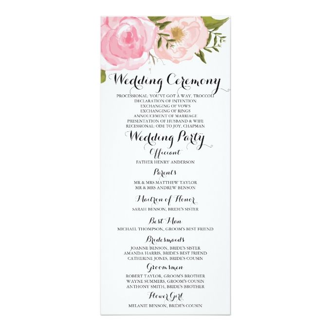 1664 best pink wedding invitations images on pinterest pink modern vintage pink floral wedding program card x invitation card stopboris Choice Image
