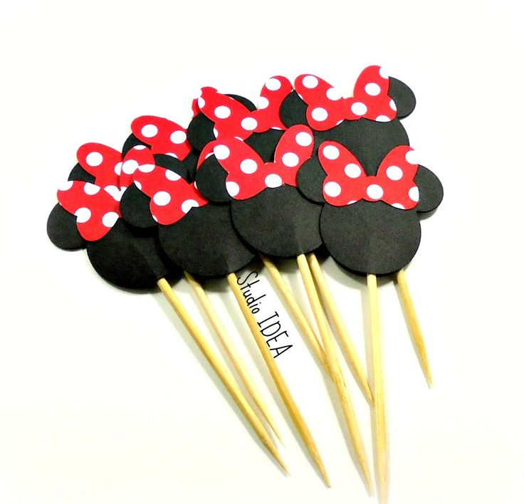 Minnie Head with large Red-White polka dots Bow- Double sided Minnie Head Cupcake Toppers- Minnie Bow, Set of 12pcs, 25pcs by StudioIdea on Etsy
