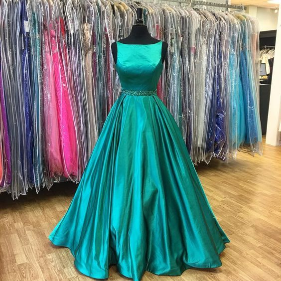 Turquoise Prom Dress,Ball Gown Prom Dress,Vintage Prom Dress,Modest Prom Dress,MA173