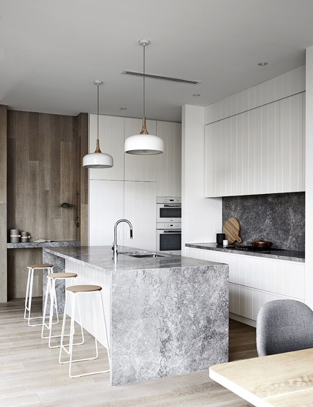 Dark Marble Backsplash in Kitchen