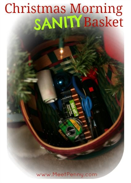 Christmas Morning SANITY Basket - No more trying to find scissors, batteries and other odds and ends you need. Fabulous idea for keeping everything together and under the tree. Check the comments for more ideas! Via Meet Penny