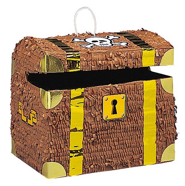 Una piñata con forma de baúl de tesoro, para tu fiesta pirata! De www.fiestafacil.com, €18.50 / A treasure chest piñata, for your pirate party! From www.fiestafacil.com