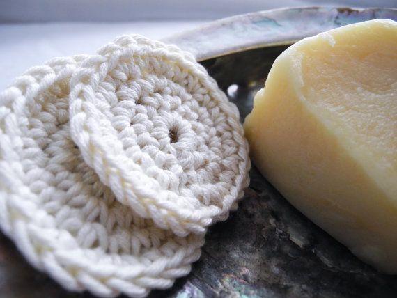 Crochet Face Scrubbies Soft Ecru Reusable Cotton Rounds, Set of 2 #etsy #etsyretwt