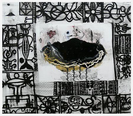 """Begin Here"", 2009, enamel varnish, oil and ink on canvas, 970 x 1100 mm. John Puhiatau Pule, b. 1962, Liku, Niue. Lives and works in Auckland, New Zealand."