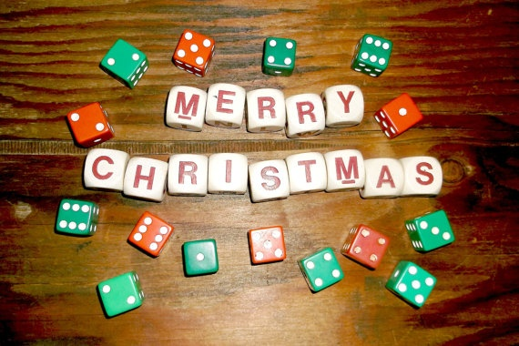 Vintage 'Merry Christmas' Game Dice