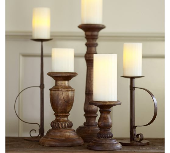 Oxford Turned Wood Candle Holders | Pottery Barn