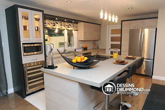 Plan de Maison unifamiliale W3715, Beautiful kitchen, belle cuisine, contemporain, contemporary, modern blanc et noir, black and white