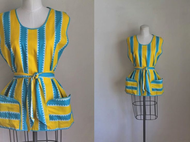 vintage 1940s cobbler apron - SUN in the SKY yellow & blue smock top by MsTips on Etsy https://www.etsy.com/listing/496978926/vintage-1940s-cobbler-apron-sun-in-the