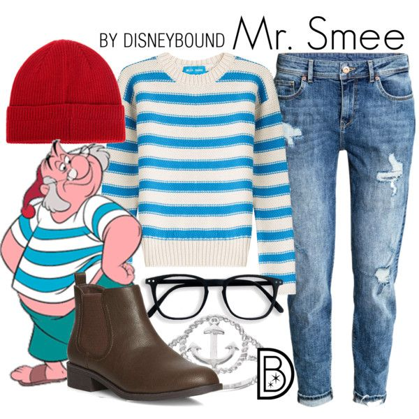 Mr. Smee by leslieakay on Polyvore featuring M.i.h Jeans, H&M, Dorothy Perkins, La Preciosa, Barbour, disney, disneybound and disneycharacter