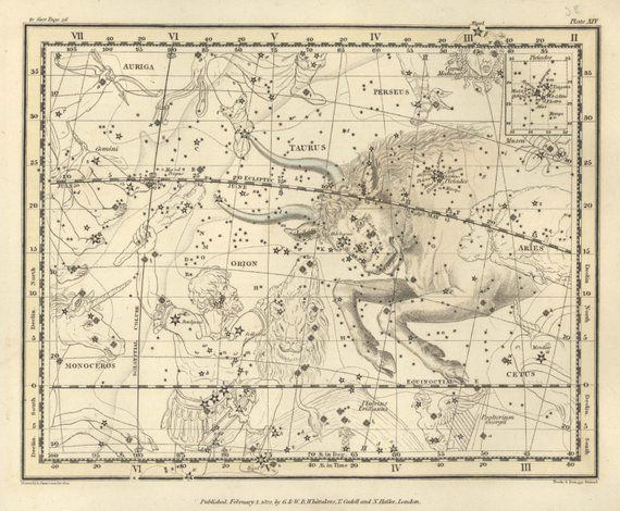 Constell ZODIAC MAP Print Professional Reproduction ANTIQUE Star Map Print