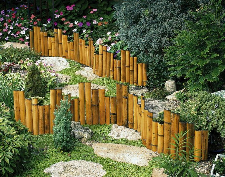 Fencing with floral borders measures 12 h x 62 l for Bamboo garden