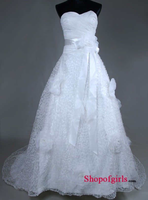 A Line Floor Length Ruched Flowers Decorated Sash Court Train Inexpensive Wedding Dresses Under 250