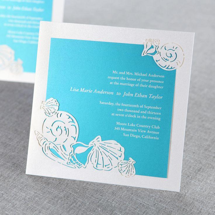 Blue Ocean Frame I Laser Cut   Wedding Invitations By B Wedding Invitations