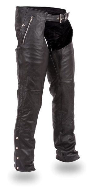 First Manufacturing Co. Unisex Double Deep Pocket Thermal Leather Chaps ($149.99), via J Cycles, World's Largest Aftermarket Motorcycle Parts and Accessories.