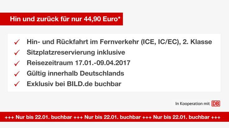 Mit dem BILD DB-Ticket können Sie im Reisezeitraum vom 17.01. bis 09.04.2017 schon für 44,90* Euro eine Hin- und Rückfahrt in der 2. Klasse im Fernverkehr der Deutschen Bahn (ICE, IC/EC) unternehmen.