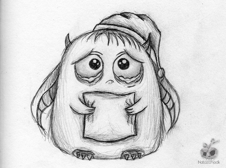 Drawings Sadness And Dark: Sad-cute-monster Drawing