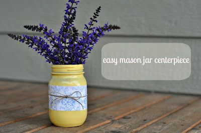 pioneer day activity centerpiece: Projects, Easy Mason Jars Centerpieces, Ideas, Masons, Mason Jar Centerpieces, Diy Cupcake, Paintings Mason, Birdi Secret, Diy Centerpieces