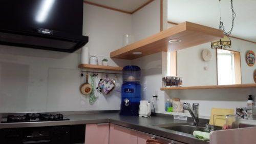 TOTOシステムキッチン『mitteミッテ』 小山市キッチンリフォーム施工例   ワンポイント造作で、可愛らしく快適なキッチンに♪
