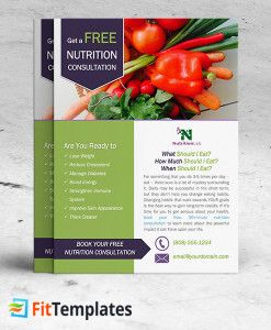 Nutritionist flyer template for health coach, weight loss programs and cooking classes from FitTemplates.com