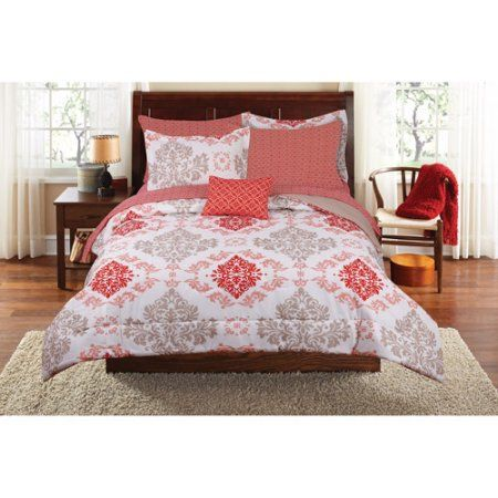 Mainstays Coral Damask Bedding in a Bag Bedding Set, Orange