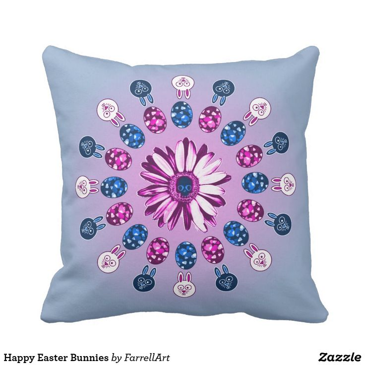 Happy Easter Bunnies Throw Pillow