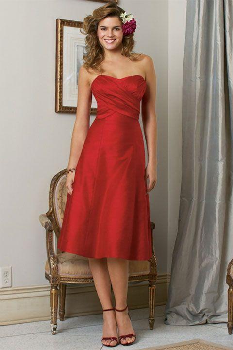 Sweetheart A-line elegant satin bridesmaid dress