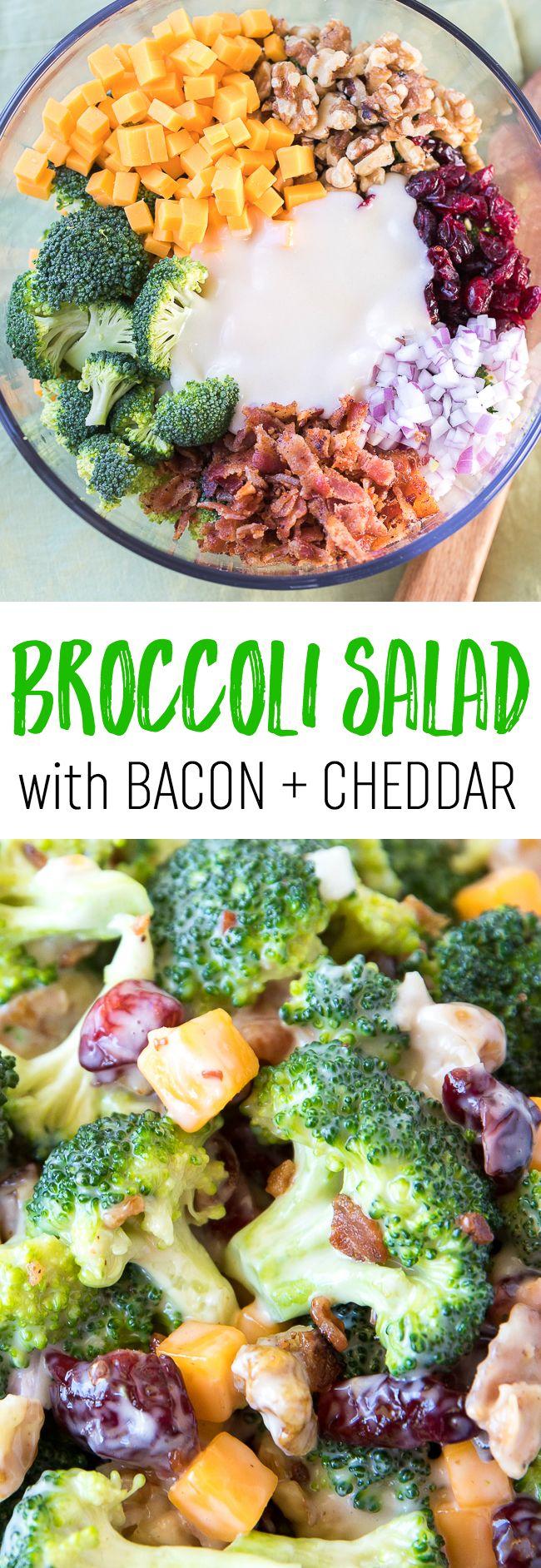 Broccoli Salad with Bacon and Cheddar Recipe | Best Broccoli Salad | Broccoli Salad with Dried Cranberries | Broccoli Salad with Walnuts