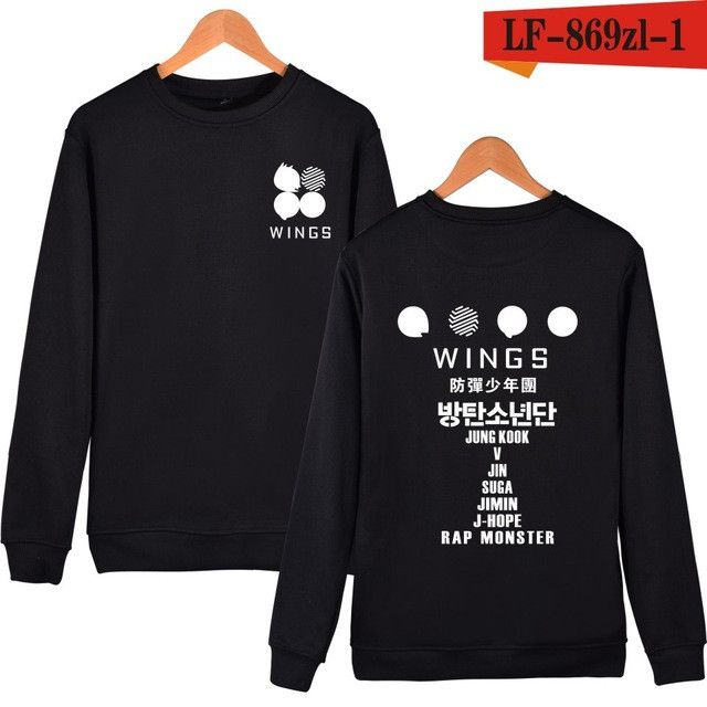 Fashion Bts 2nd Album Wings Print Harajuku Sweatshirt Women Fleece Pink Hoodie For Kpop Fans Bangtan Boys Autumn Winter Hoodies