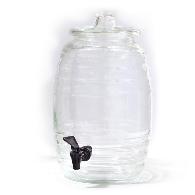 Traditional crystal clear glass vitroleros, shaped like the wooden barrel from http://www.melissaguerra.com for some yum Mexican aguas frescas