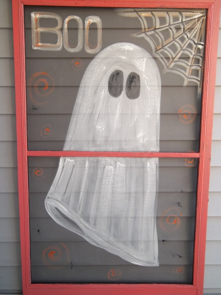 41 best screens images on Pinterest Painted canvas, Painted lamp - halloween window ideas
