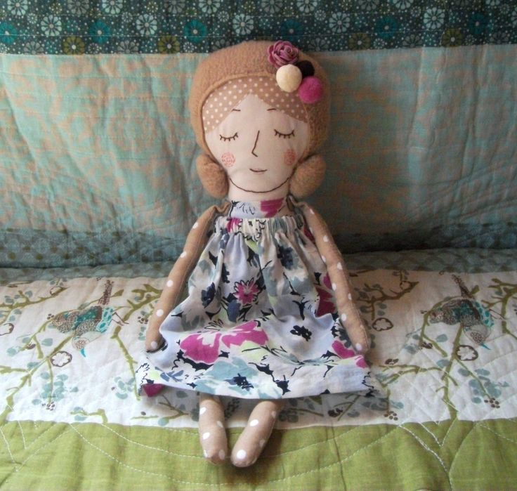 Embroidered doll, Chirory doll, handmade textile doll, rag doll.