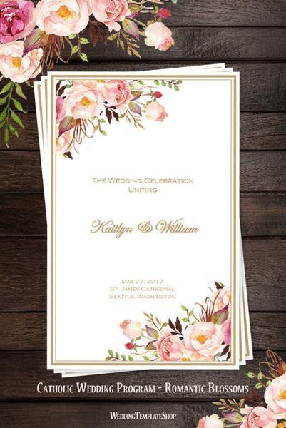 Catholic Church Wedding Program Romantic Blossoms DIY Printable
