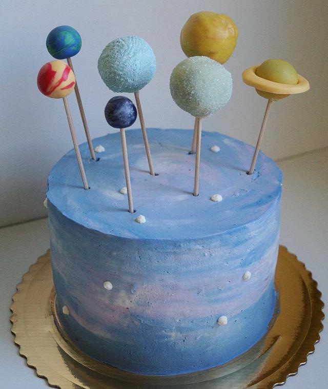 galaxy cake planet cake pops solar system