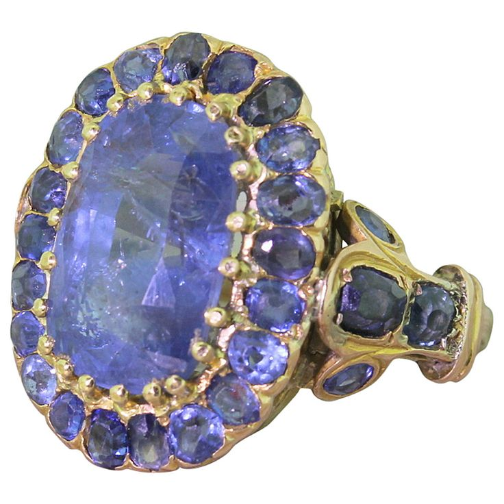 11 carat natural, unheated sapphire and gold ring dates to mid-19th century England