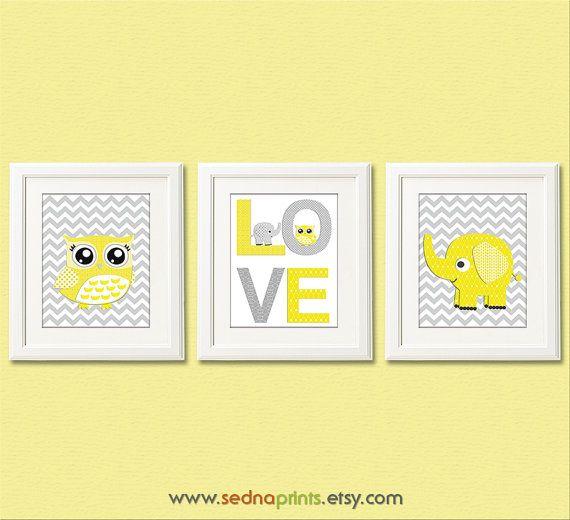 Yellow and grey chevron Nursery Art Print Set  8x10 by SednaPrints, $37.50