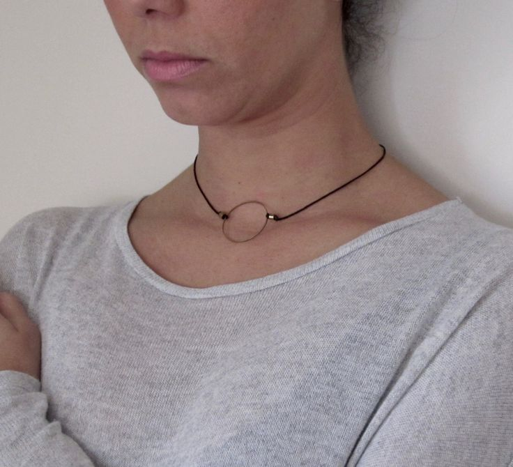 Minimal circle necklace/geometry jewelry/chokers/adjustable necklace/ triangle pendant/tsoker necklace/cords/gift for her by MOMADjewels on Etsy