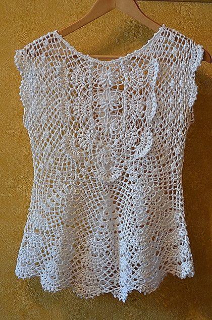 Chorrilho de ideias: Top algodão branco em crochet