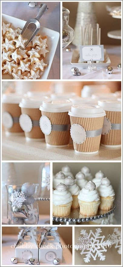 Winter party ideas, What do you think about personal labeled paper cups offering hot cocoa to those who attend the outdoor ceremony? Something cute writen on their labels about you and Ryan? Just an idea :) I love it! Actually, I designed a wedding logo for Ryan and I! Ill have to email it to you! Star cookies for Xmas day